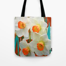 WHITE-GOLD NARCISSUS FLOWERS BLUE-BROWN Tote Bag