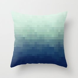 Gradient Pixel Aqua Throw Pillow