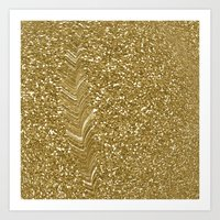 gold glitter Art Prints featuring GLITTER GOLD by isoncaDesign