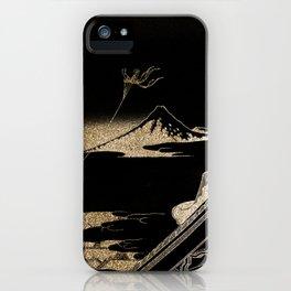Hokusai's Temple Illustration Remix iPhone Case