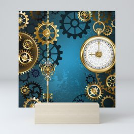 Turquoise Background with Gears ( Steampunk ) Mini Art Print