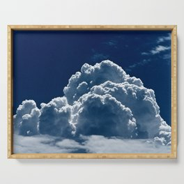 Puffy Cumulus clouds on Deep Blue Sky Serving Tray