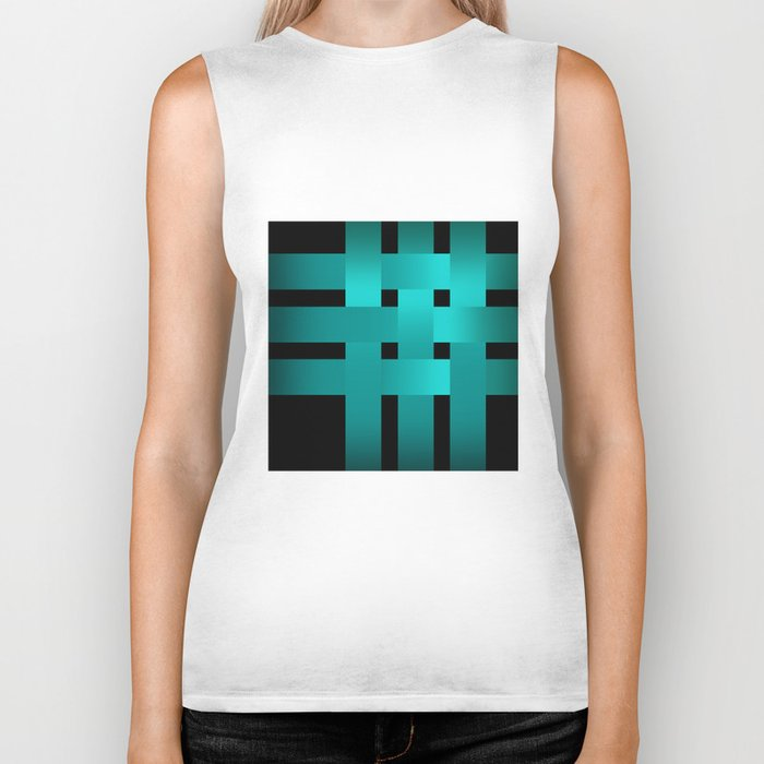 Abstraction .Weave turquoise satin ribbons . Patchwork . Biker Tank