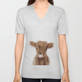 Baby Highland Cow Portrait Unisex V-Neck