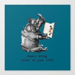 Reading Rhino loves books Canvas Print