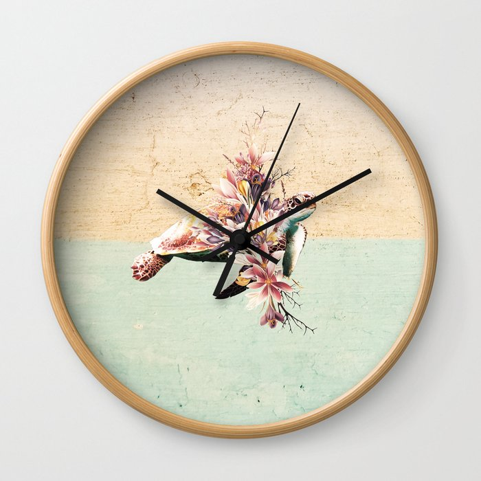 Turtle and bouquet Wall Clock