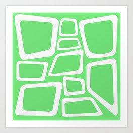 Mid Century On Pastel Green - Abstract Design Art Print