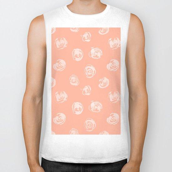 Sweet Life Rosebud Peach Coral Pink Biker Tank