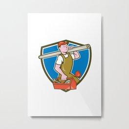 Plumber Carrying Pipe Toolbox Crest Cartoon Metal Print
