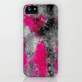 vintage psychedelic painting texture abstract in pink and black with noise and grain iPhone Case