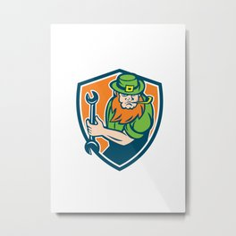 Leprechaun Mechanic Spanner Shield Retro Metal Print