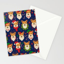 Welsh Corgi Dog Breed Christmas Party -Cute Corgis Celebrate X-Mas Blue Stationery Cards