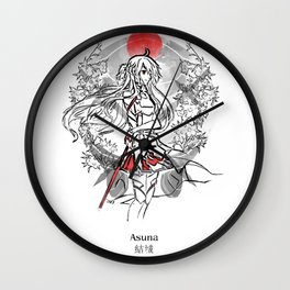 Swordswoman at sunset Wall Clock