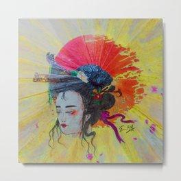Sunset & Geisha Metal Print