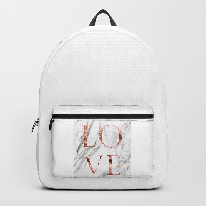 Rose gold marble LOVE Backpack