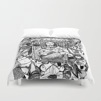 patriarchy Duvet Covers featuring Ave Maria (Deicide) by JenRiel