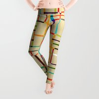 map Leggings featuring The map (after Mondrian) by Picomodi