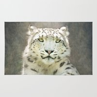 snow leopard Area & Throw Rugs featuring Snow Leopard by Pauline Fowler ( Polly470 )