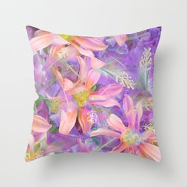 blooming pink daisy flower with purple flower background Throw Pillow