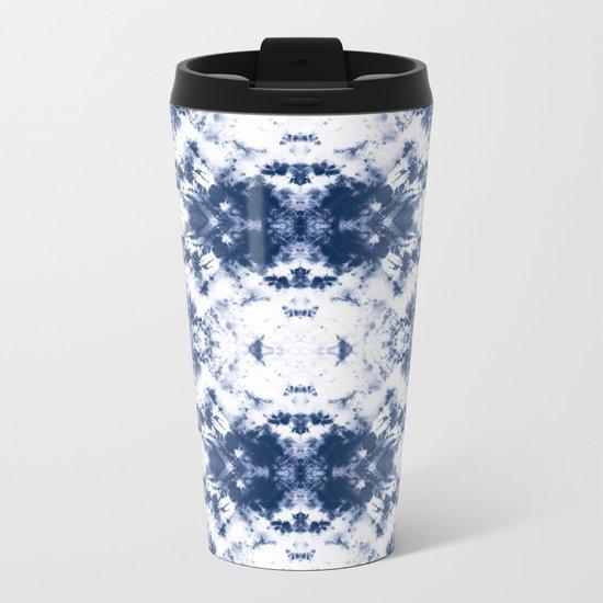 Shibori Tie Dye 3 Indigo Blue Metal Travel Mug