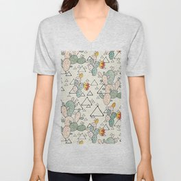 Prickly Pear Cacti and Triangles Unisex V-Neck