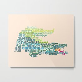 Crocodile in Different Languages Metal Print