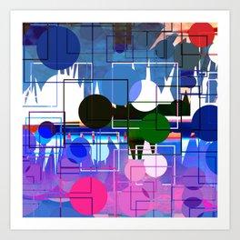 Multi- Blue Sticker Line Abstract Design Art Print