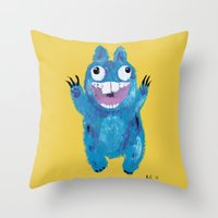 kevin russ Throw Pillows featuring Kevin by Kristina Joy Collins