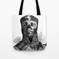 wrestling Tote Bags featuring WRESTLING MASK 10 by DIVIDUS DESIGN STUDIO