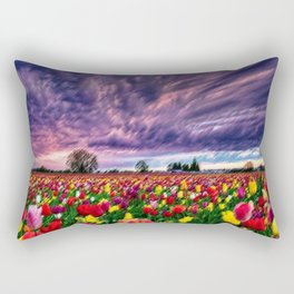 Rhode Island Sunsets and Tulips Landscape by Jeanpaul Ferro Rectangular Pillow