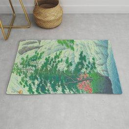 Kawase Hasui, Waterfall, Japanese Woodblock Print Ukiyo-e, Shin-hanga, Landscape Rug