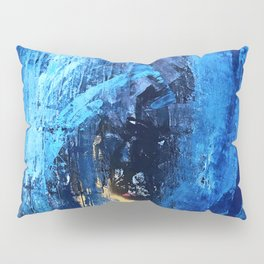 Vortex: a vibrant, blue and gold abstract mixed-media piece Pillow Sham