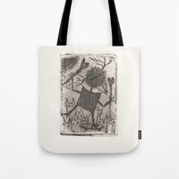 sport Tote Bags featuring Sport crow by KRADA ZHAN ART