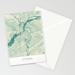 Ottawa Map Blue Vintage Stationery Cards