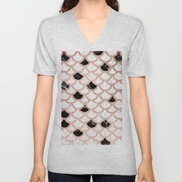 Girly rose gold black white marble mermaid scallop pattern Unisex V-Neck