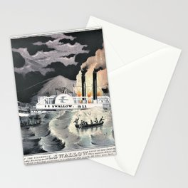 Nathaniel Currier - Loss of the Steamboat Swallow, While on Her Trip, from Albany to New York - Digital Remastered Stationery Cards
