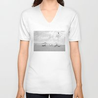 portugal V-neck T-shirts featuring Beach (Portugal) by mojekris