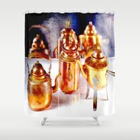 copper Shower Curtains featuring Copper utensils by LoRo  Art & Pictures