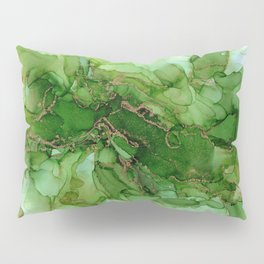 Abstract Bloom Green Gold Cactus Ink Pillow Sham