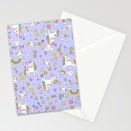 Unicorn Lilac Pattern Stationery Cards