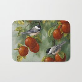 Chickadees and Apple Tree Harvest Bath Mat