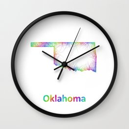 Rainbow Oklahoma map Wall Clock