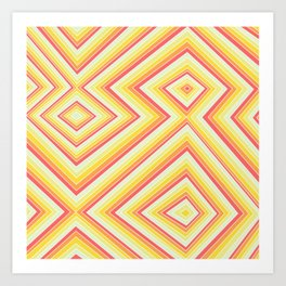 Bright Sunshine - Red, Orange and Yellow Lines - Illusion Art - 57 M Ave Art Print