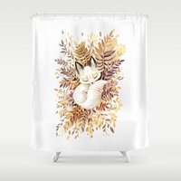 fox Shower Curtains featuring Slumber by Freeminds