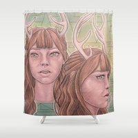 bambi Shower Curtains featuring Bambi by Warm Honey