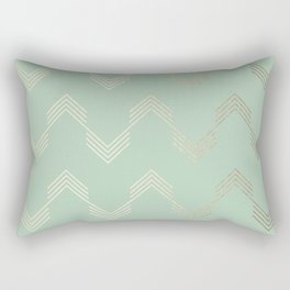 Simply Deconstructed Chevron in White Gold Sands and Pastel Cactus Green Rectangular Pillow