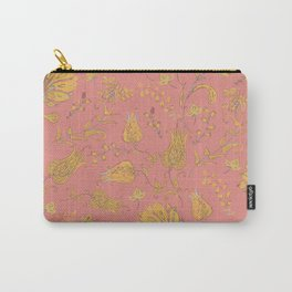 Paradise Florals - Coral & Yellow Carry-All Pouch