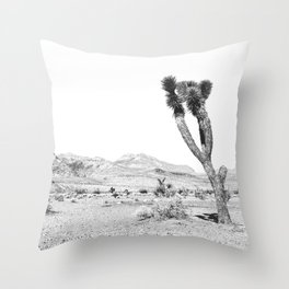 Vintage Desert Scape B&W // Cactus Nature Summer Sun Landscape Black and White Photography Throw Pillow