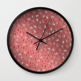 pink,silver,dollar, symbol in shiny metall textur Wall Clock