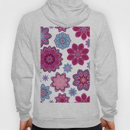 Flower retro pattern. Purple and blue flowers on white background. Hoody